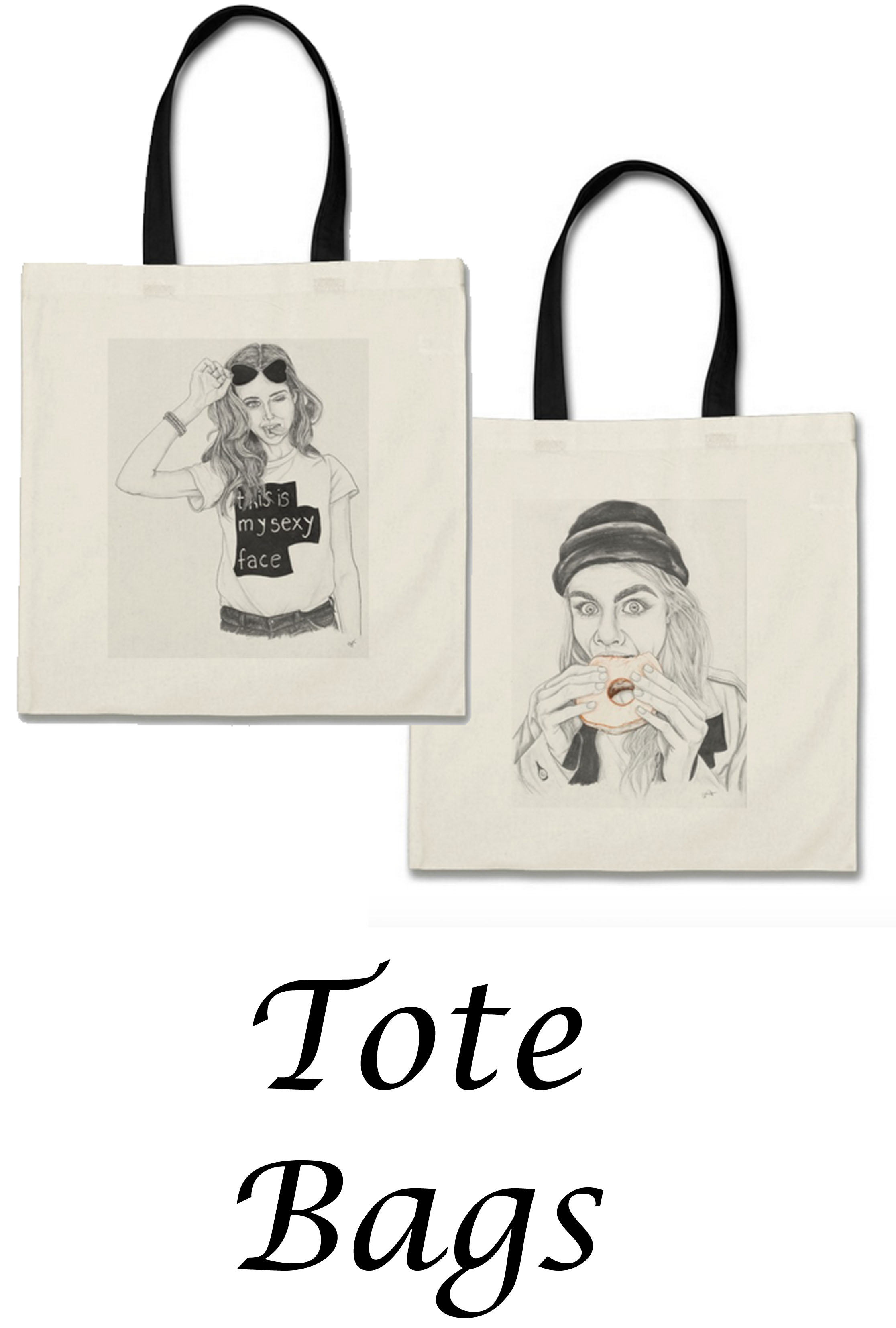 shop cait chock tote bags art