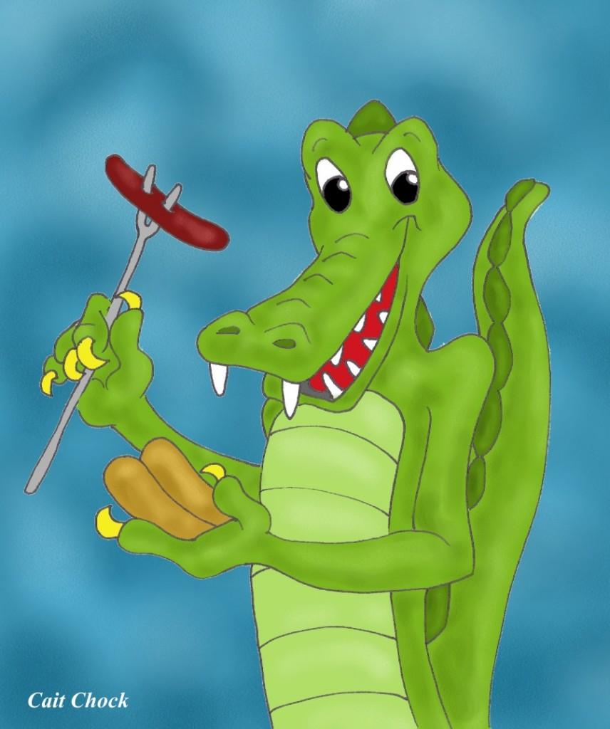 crocodile eating hotdog