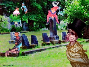 puppets in graveyard