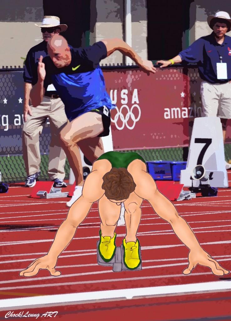 man racing