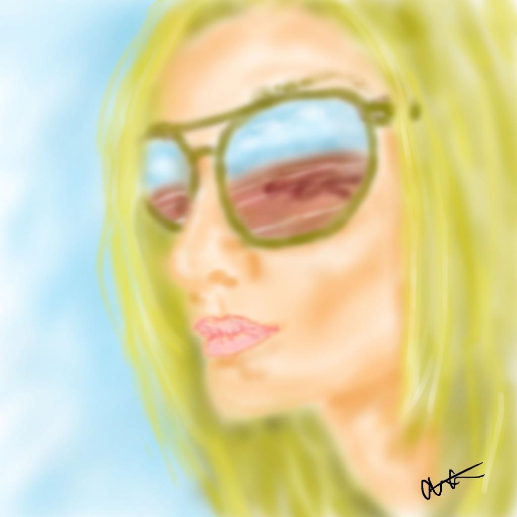 track in sunglasses
