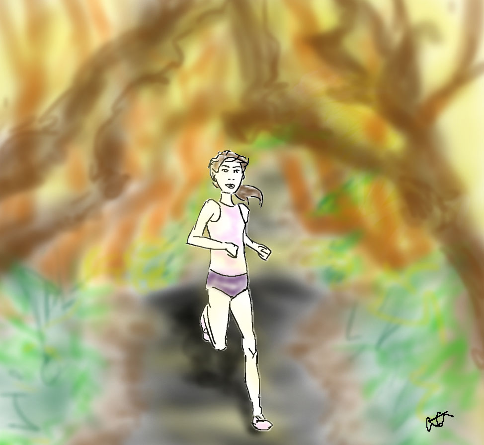 running in forest