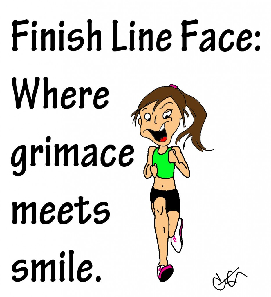 finish line face woman running