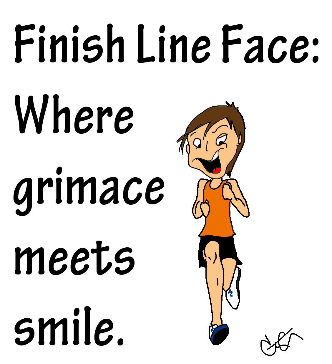 finish line face man running