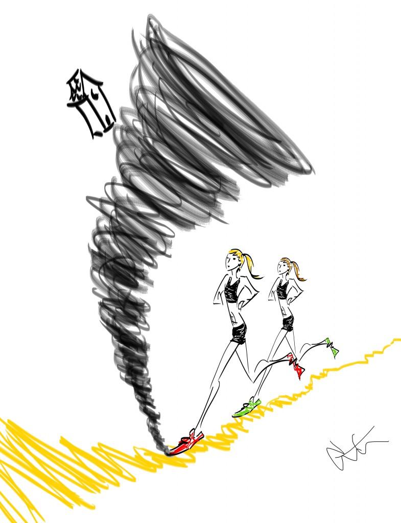 running in a tornado