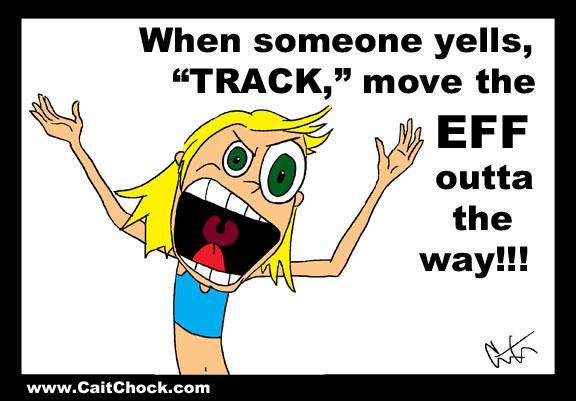 runner yelling track