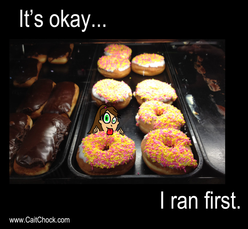 runner licking donut