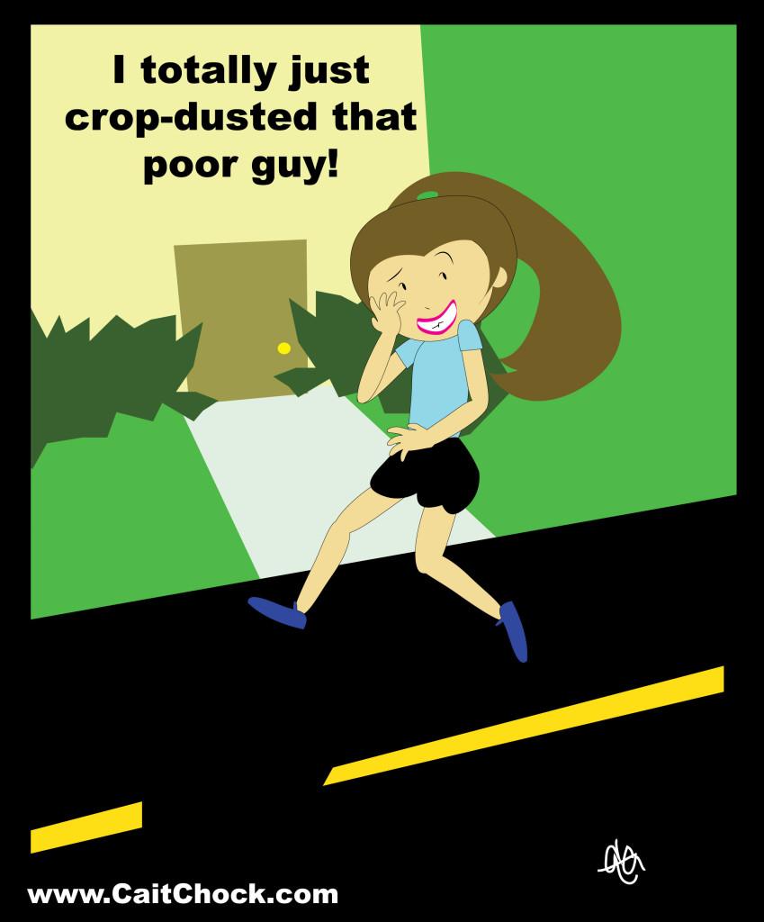 running cartoon cropdusting