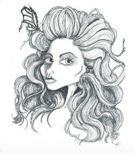 Hair and butterfly pen art sketch