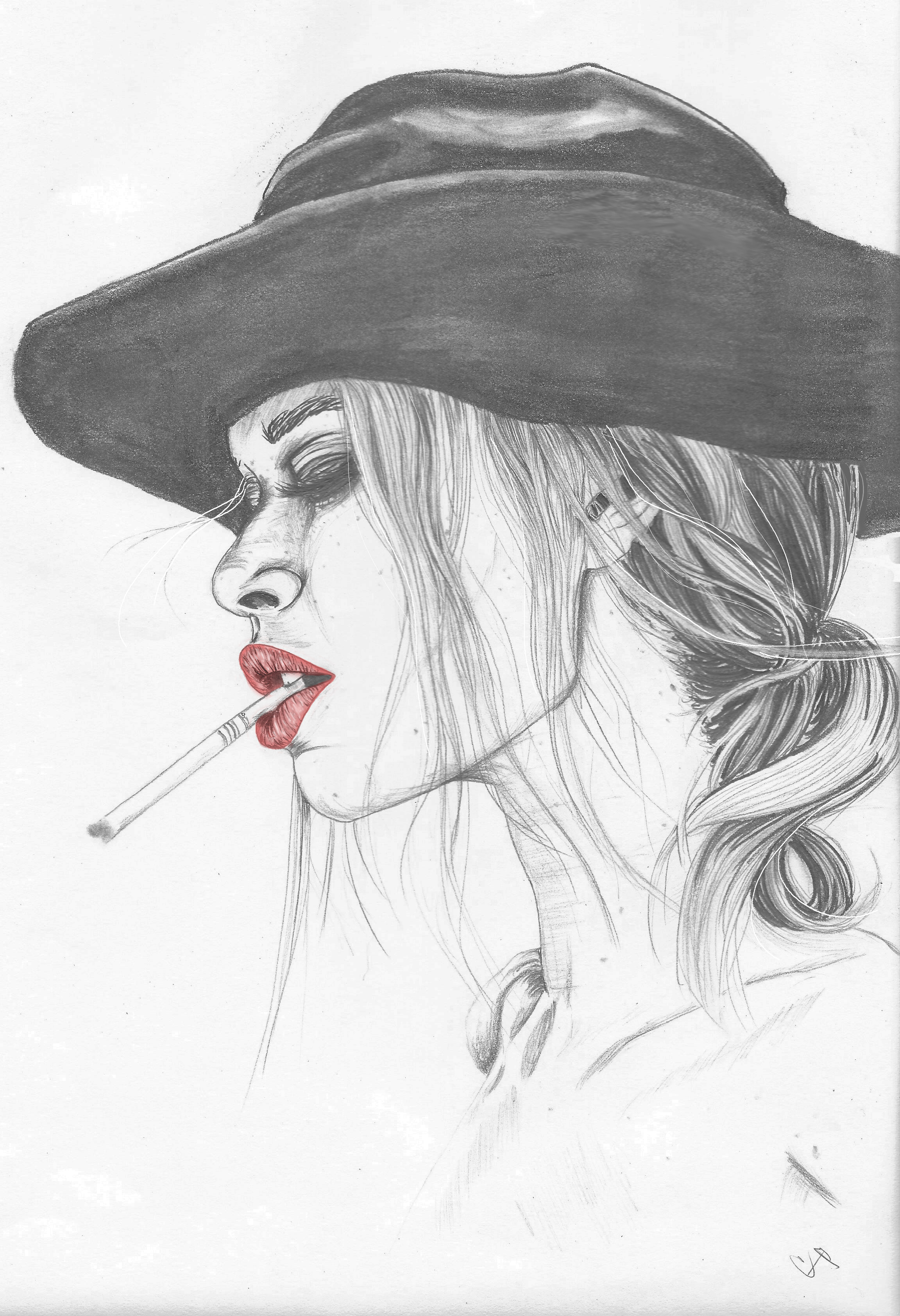hat cigarette profile print