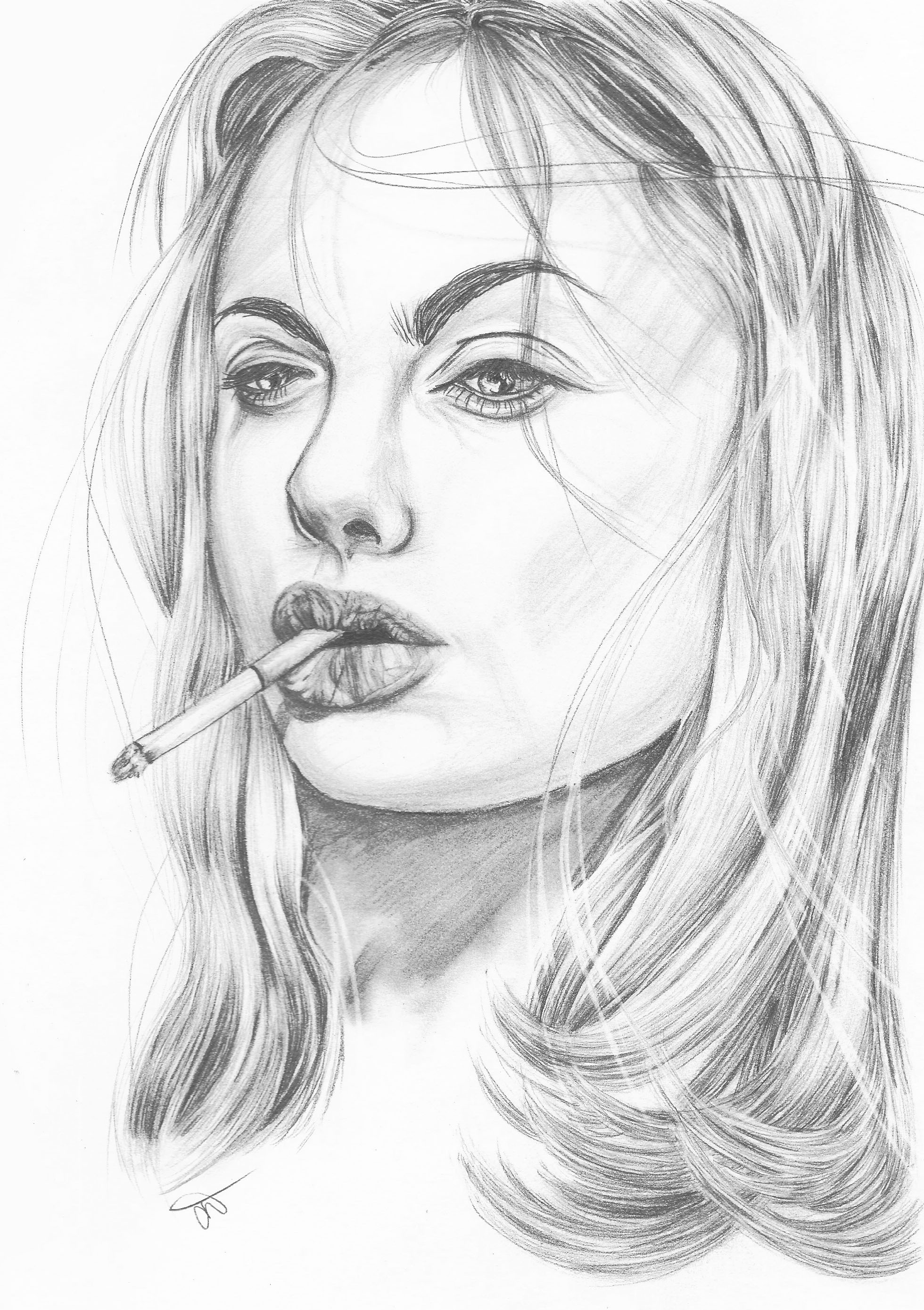 angeline jolie from girl interrupted pencil drawing