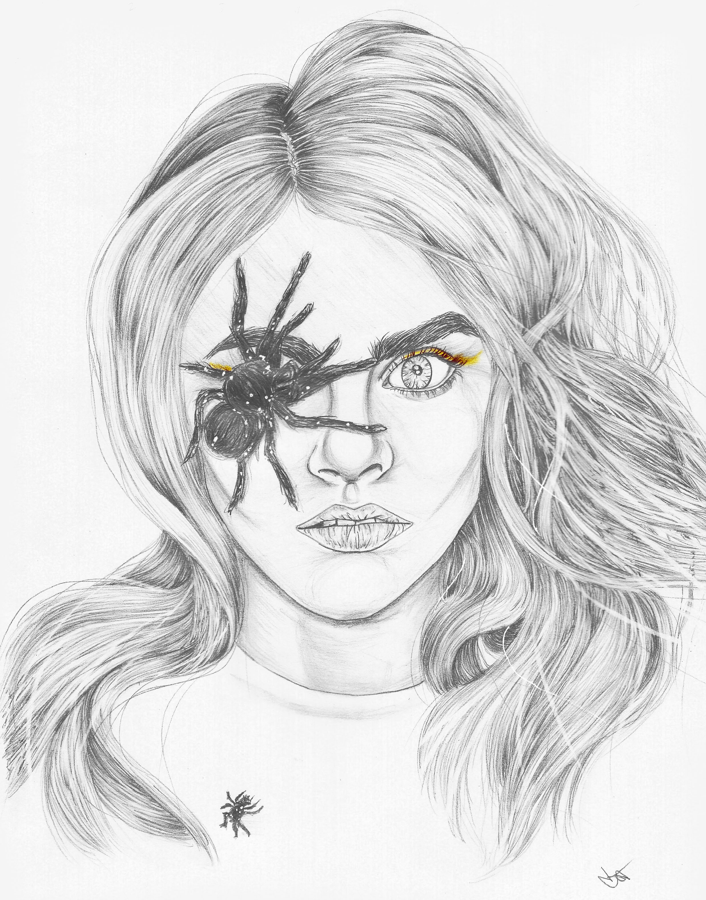 cara delevingne and spider id magazine pencil drawing sketch print