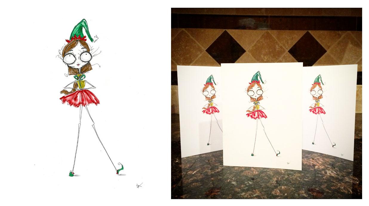 holiday christmas elf santa cait chock cards art