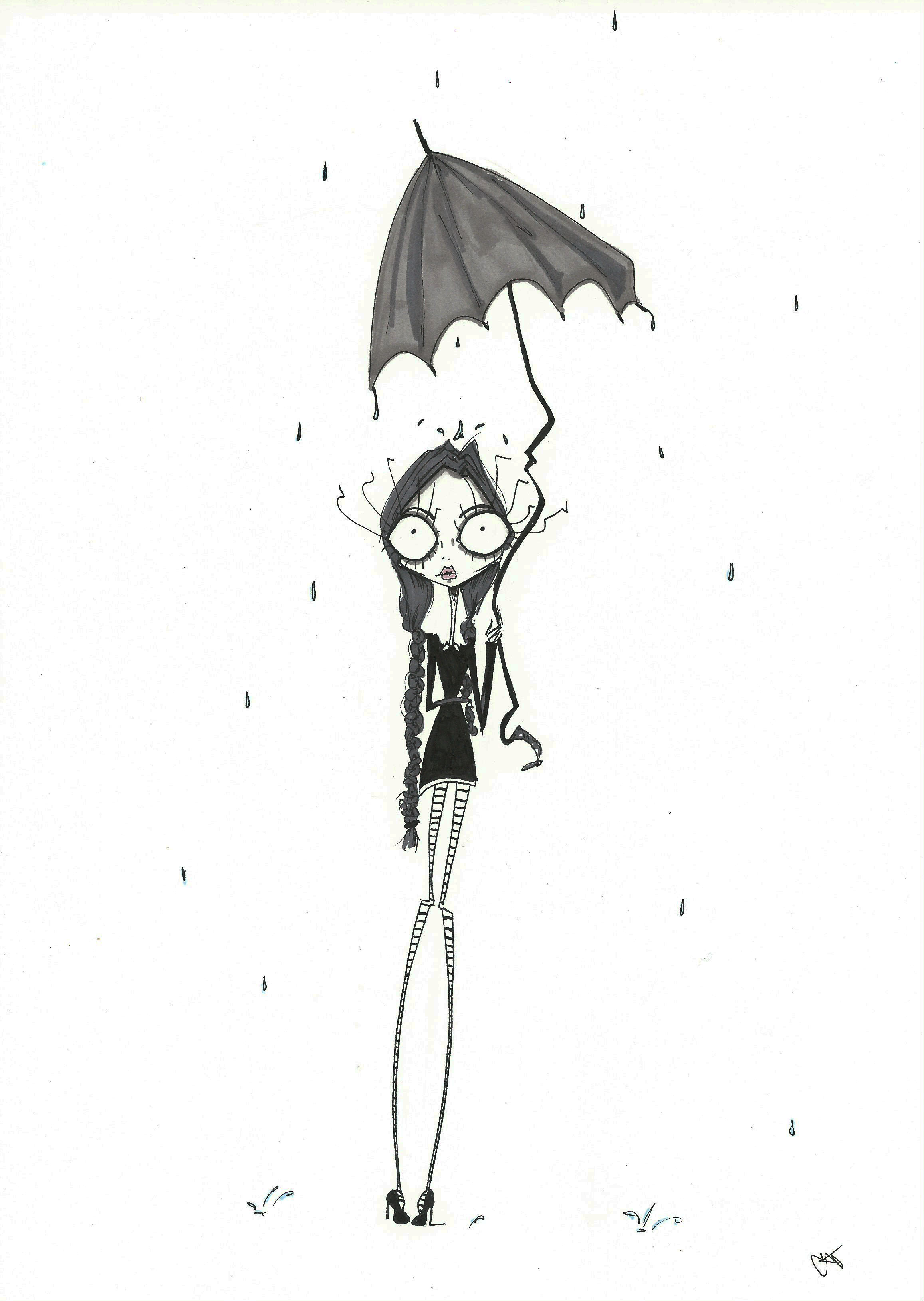 wednesday addams illustration drawing print