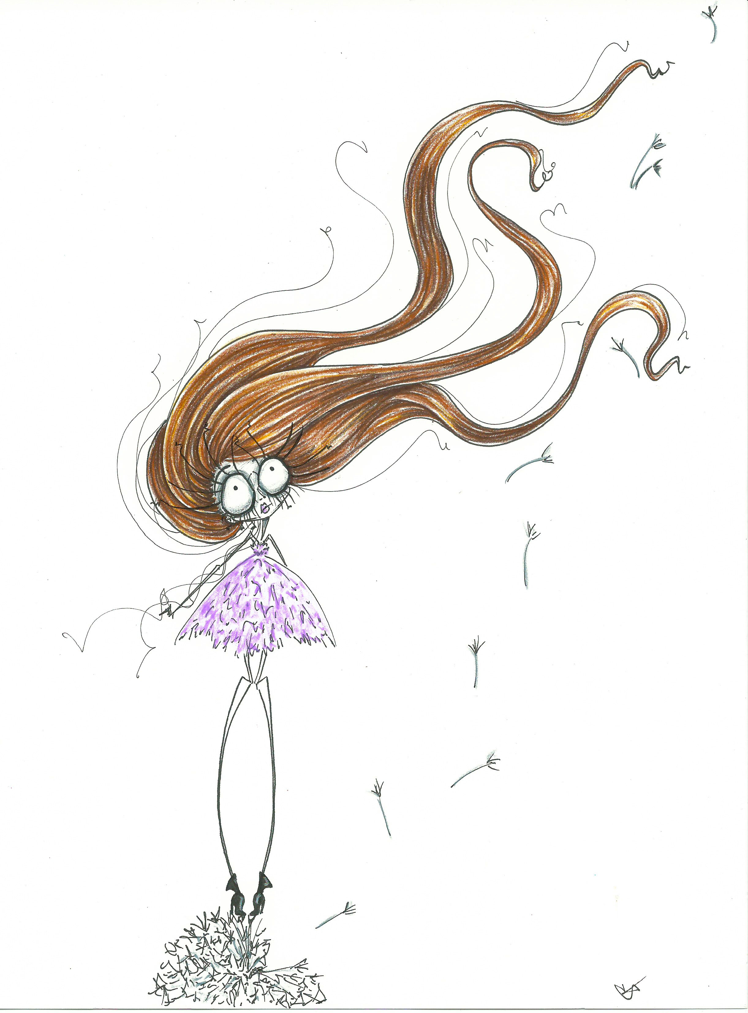 dandelion wishes girl art print illustration