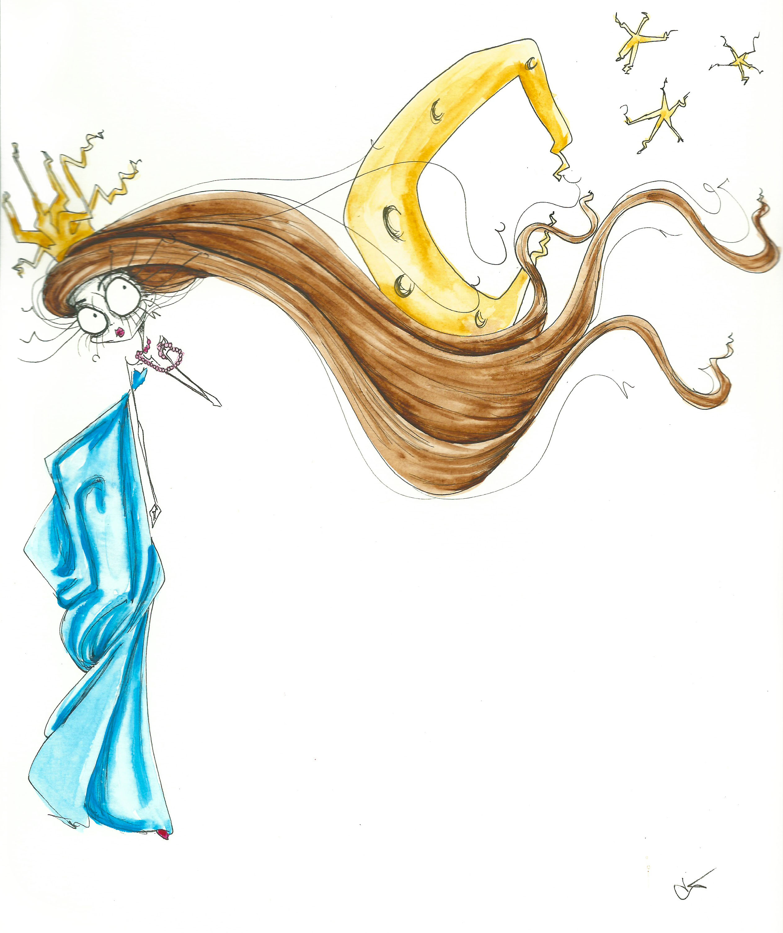 girl wishing moon hair illustration painting print